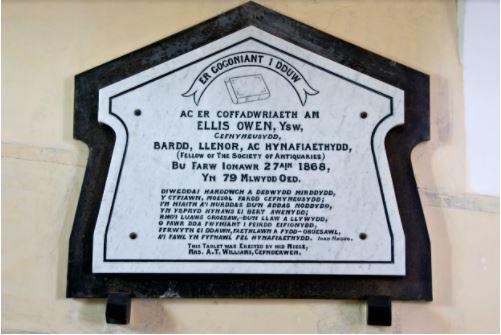 Ellis Owen's memorial, inside St. Cynhaearn's