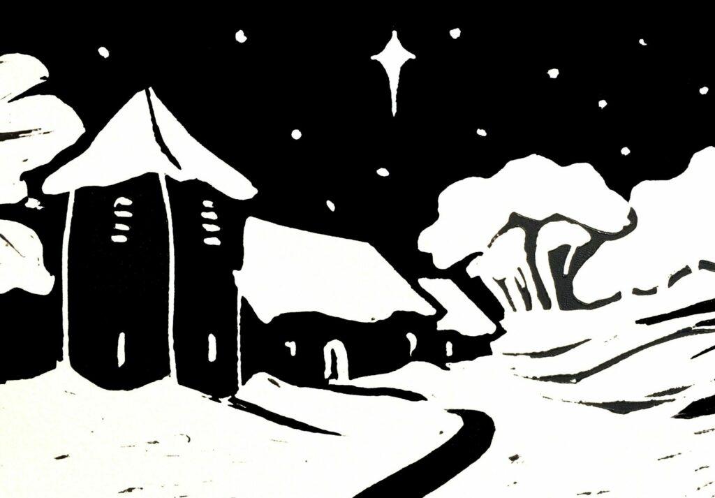 Llandawke linoprint - Rebecca Warren